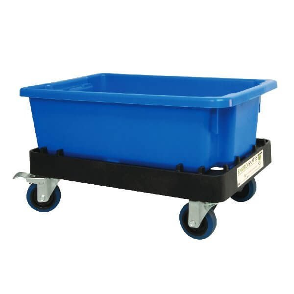 Blue crate with skate