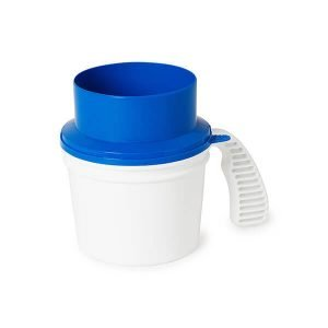 Collection container quick drop lid blue