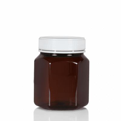 Jar PET Hex 750ml/1Kg Amber