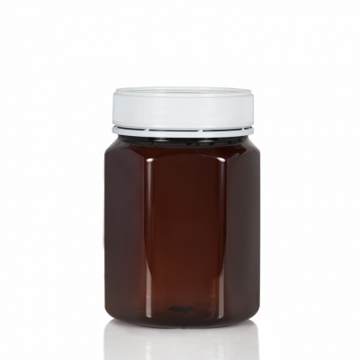 Jar PET Hex 800ml/1Kg Amber Tall 83mm neck