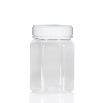 Jar PET Hex 800ml/1Kg Clear Tall 83mm neck