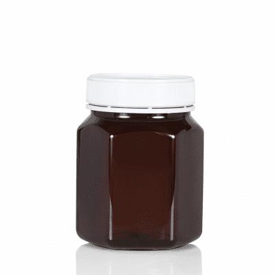 Jar PET Hex 850ml/1Kg Amber 83mm neck