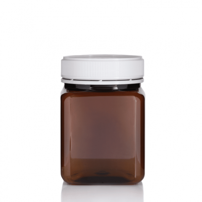 Jar PET Square 1 kg/817ml Amber