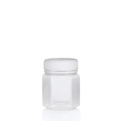 Jar PET Hex 250g/200ml Clear