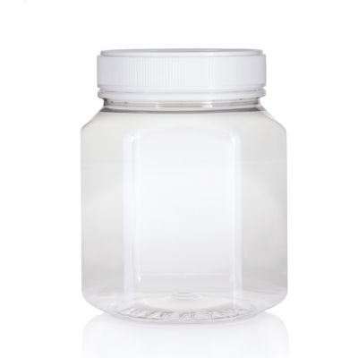 Jar PET Hex 1500ml/2Kg Clear 100mm neck