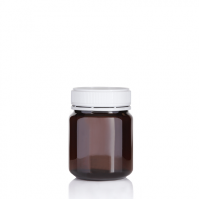 Jar PET Round 340g/312ml Amber 60mm neck