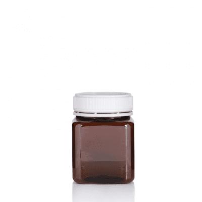 Jar PET Square 375g/270ml Amber