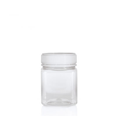 Jar PET Square 375g/270ml Clear