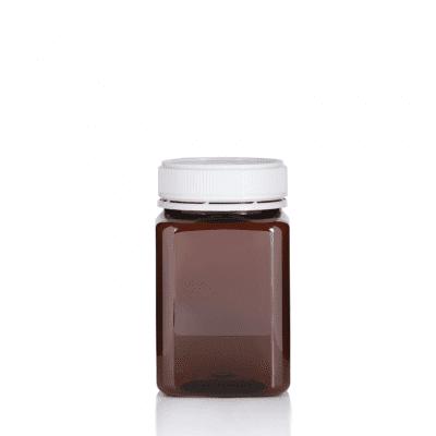 Jar PET Square 500g/400ml Amber