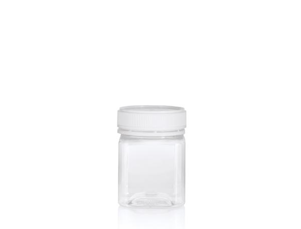 PET Jar 250gm - 200ml Clear Square Carton