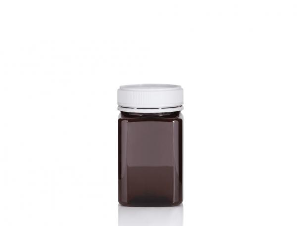 Jar PET Square 375g/270ml Tall Amber