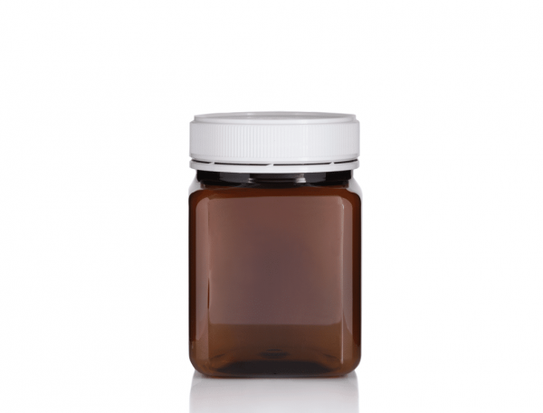 Jar PET Square 1 kg/817ml Amber