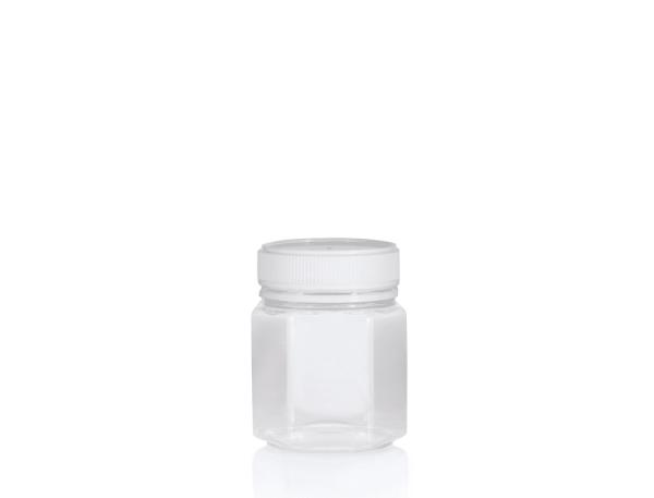 Jar PET Hex 250g/200ml Clear
