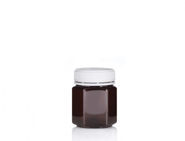 Jar PET Hex 250/200ml Amber