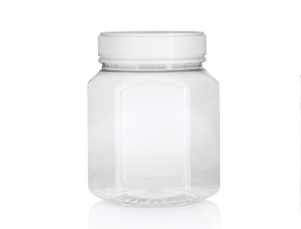 Jar PET Hex 1500ml/2Kg Clear 100mm neck