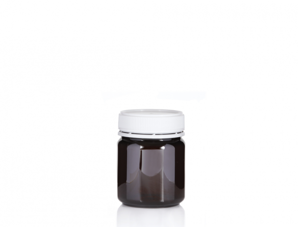 Jar 250gm / 200ml Amber Round Carton (350 per carton) 57mm neck